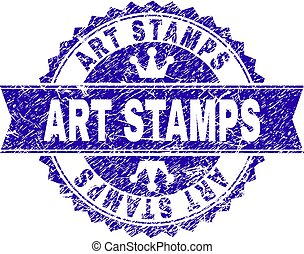 Scratched Textured ART STAMPS Stamp Seal with Ribbon