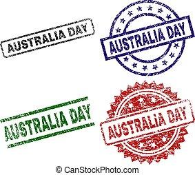 Scratched Textured AUSTRALIA DAY Stamp Seals