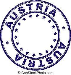 Scratched Textured AUSTRIA Round Stamp Seal