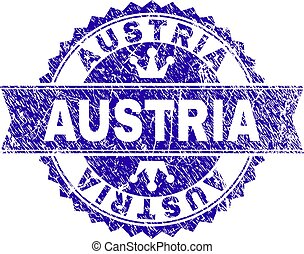 Scratched Textured AUSTRIA Stamp Seal with Ribbon