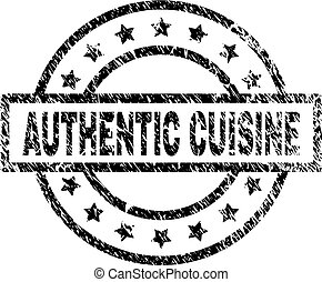 Scratched Textured AUTHENTIC CUISINE Stamp Seal