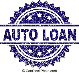 Scratched Textured AUTO LOAN Stamp Seal