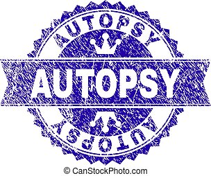 Scratched Textured AUTOPSY Stamp Seal with Ribbon