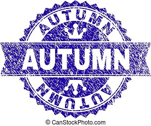 Scratched Textured AUTUMN Stamp Seal with Ribbon