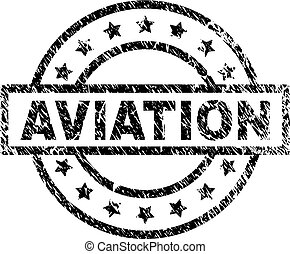 Scratched Textured AVIATION Stamp Seal