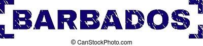 Scratched Textured BARBADOS Stamp Seal Between Corners -...