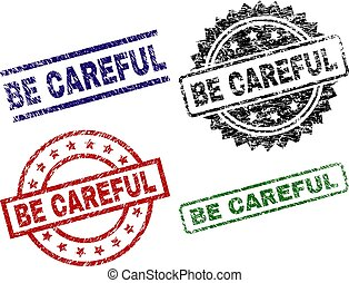 BE CAREFUL seal prints with corroded style. Black, green, red, blue vector rubber prints of BE CAREFUL tag with corroded style. Rubber seals with round, rectangle, rosette shapes.