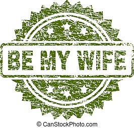 Scratched Textured BE MY WIFE Stamp Seal
