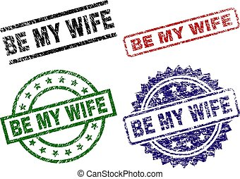 Scratched Textured BE MY WIFE Stamp Seals