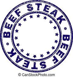Scratched Textured BEEF STEAK Round Stamp Seal