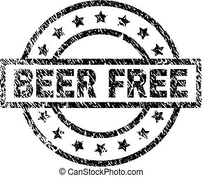 Scratched Textured BEER FREE Stamp Seal