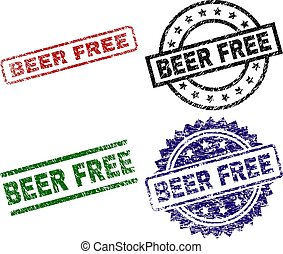 Scratched Textured BEER FREE Stamp Seals