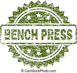 Scratched Textured BENCH PRESS Stamp Seal