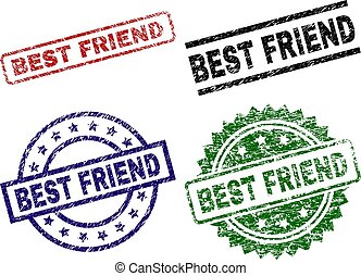 Scratched Textured BEST FRIEND Seal Stamps