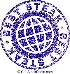 Scratched Textured BEST STEAK Stamp Seal