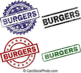 BURGERS seal prints with distress texture. Black, green, red, blue vector rubber prints of BURGERS tag with unclean texture. Rubber seals with circle, rectangle, rosette shapes.