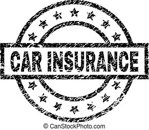 Scratched Textured CAR INSURANCE Stamp Seal