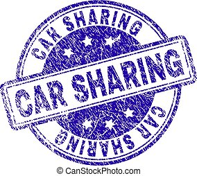Scratched Textured CAR SHARING Stamp Seal