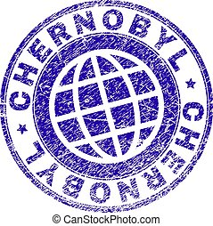 CHERNOBYL stamp imprint with grunge style. Blue vector rubber seal imprint of CHERNOBYL title with retro texture. Seal has words arranged by circle and planet symbol.