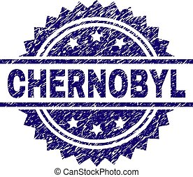 CHERNOBYL stamp seal watermark with distress style. Blue vector rubber print of CHERNOBYL label with retro texture.