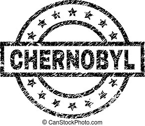 CHERNOBYL stamp seal watermark with distress style. Designed with rectangle, circles and stars. Black vector rubber print of CHERNOBYL tag with dust texture.