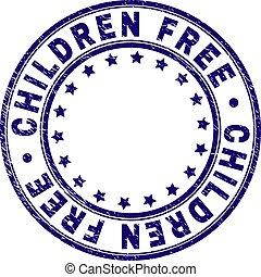 Scratched Textured CHILDREN FREE Round Stamp Seal