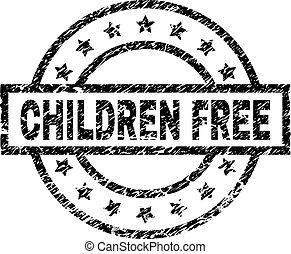Scratched Textured CHILDREN FREE Stamp Seal