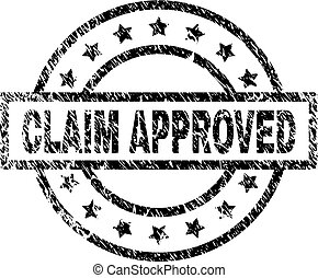 Scratched Textured CLAIM APPROVED Stamp Seal
