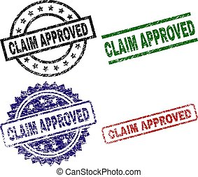 Scratched Textured CLAIM APPROVED Stamp Seals