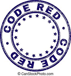 Scratched Textured CODE RED Round Stamp Seal