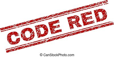 Scratched Textured CODE RED Stamp Seal