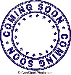 Scratched Textured COMING SOON Round Stamp Seal