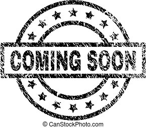 Scratched Textured COMING SOON Stamp Seal