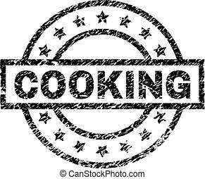 Scratched Textured COOKING Stamp Seal