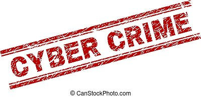 Scratched Textured CYBER CRIME Stamp Seal