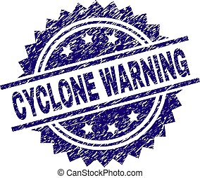 Scratched Textured CYCLONE WARNING Stamp Seal