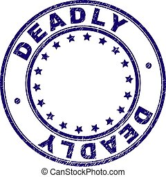 Scratched Textured DEADLY Round Stamp Seal