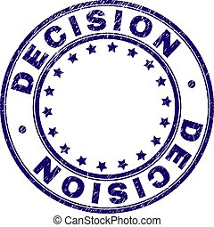 Scratched Textured DECISION Round Stamp Seal