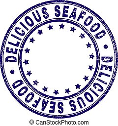 Scratched Textured DELICIOUS SEAFOOD Round Stamp Seal