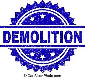 Scratched Textured DEMOLITION Stamp Seal