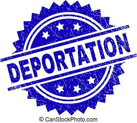 DEPORTATION stamp seal watermark with distress style. Blue vector rubber print of DEPORTATION tag with retro texture.
