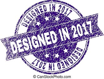 Scratched Textured DESIGNED IN 2017 Stamp Seal