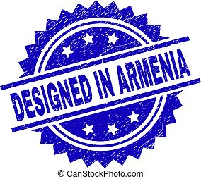 Scratched Textured DESIGNED IN ARMENIA Stamp Seal