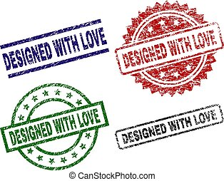 Scratched Textured DESIGNED WITH LOVE Seal Stamps