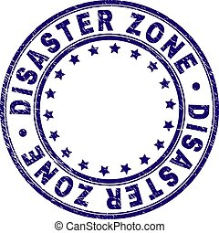 Scratched Textured DISASTER ZONE Round Stamp Seal