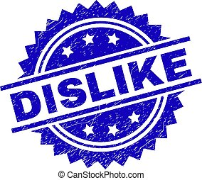 DISLIKE stamp seal watermark with distress style. Blue vector rubber print of DISLIKE text with unclean texture.