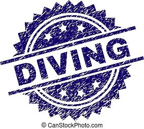 Scratched Textured DIVING Stamp Seal