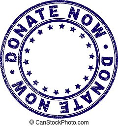 Scratched Textured DONATE NOW Round Stamp Seal