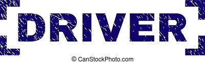 Scratched Textured DRIVER Stamp Seal Between Corners