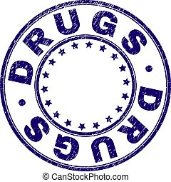 Scratched Textured DRUGS Round Stamp Seal